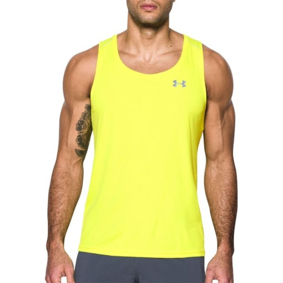 35edff2abb013e NWT Men s Under Armour Streaker Yellow Tank Top XL